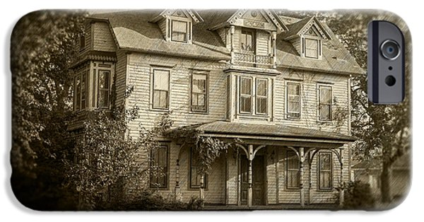 Haunted House iPhone Cases - Harrington House - Sepia iPhone Case by Brian Wallace