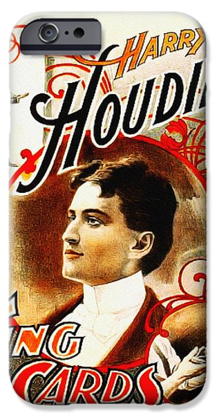 Escape iPhone Cases - Harry Houdini - King of Cards iPhone Case by Digital Reproductions