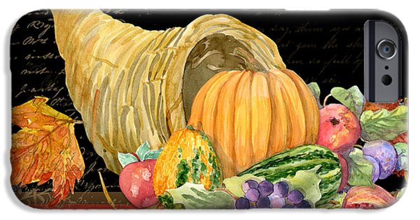 Rural Mixed Media iPhone Cases - Harvest Cornucopia of Blessings - Pumpkin Pomegranate Grapes Apples iPhone Case by Audrey Jeanne Roberts