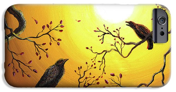 Crows iPhone Cases - Harvest Crows iPhone Case by Laura Iverson