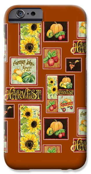 Farm Stand iPhone Cases - Harvest Market Pumpkins Sunflowers n Red Wagon iPhone Case by Audrey Jeanne Roberts