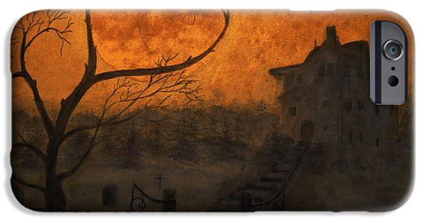 Haunted House iPhone Cases - Harvest Moon iPhone Case by Ken Figurski