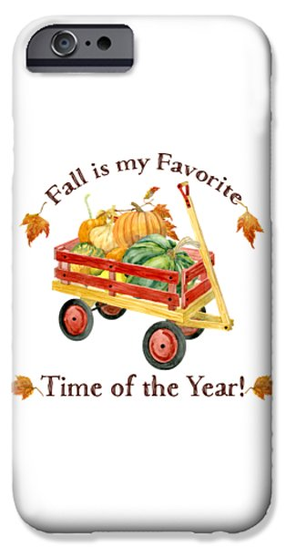 Farm Stand iPhone Cases - Harvest Red Wagon Pumpkins n Leaves iPhone Case by Audrey Jeanne Roberts