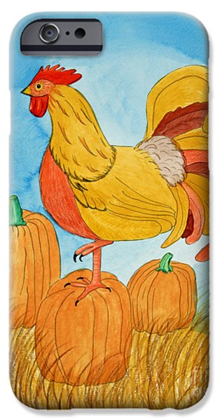 Appleton Art iPhone Cases - Harvest Rooster iPhone Case by Norma Appleton