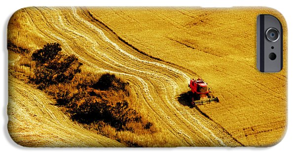 Combine Harvester iPhone Cases - Harvesting the Crop iPhone Case by Mal Bray