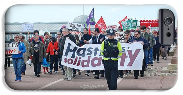 Police Officer iPhone Cases - Hastings march against austerity iPhone Case by David Fowler