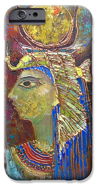 Hathor Paintings iPhone Cases - Hathor. Goddess of Egypt iPhone Case by Valentina Kondrashova