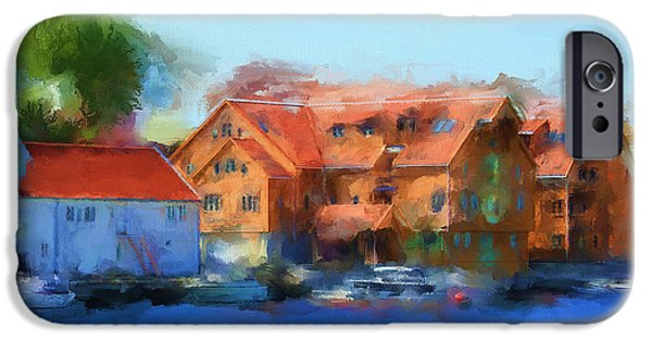 Time2paint iPhone Cases - Haugesund Harbour iPhone Case by Michael Greenaway