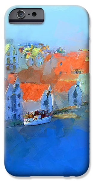 Haugesund Harbour Norway iPhone Case by Michael Greenaway