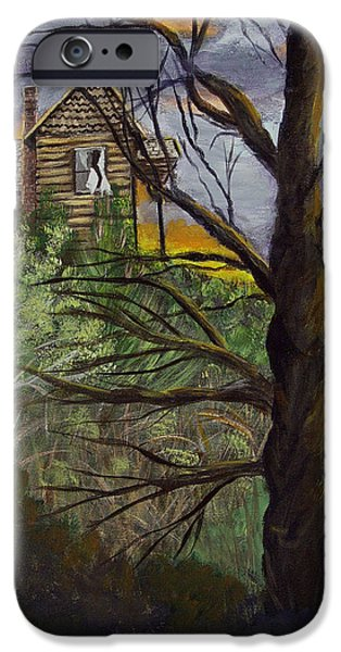Haunted House Paintings iPhone Cases - Haunted House iPhone Case by Quwatha Valentine