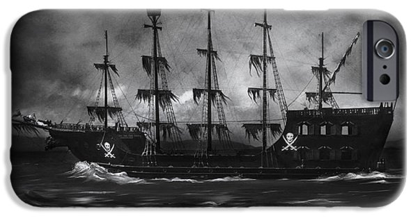 Storm iPhone Cases - Haunted Pirate Ship iPhone Case by Lynn Jackson