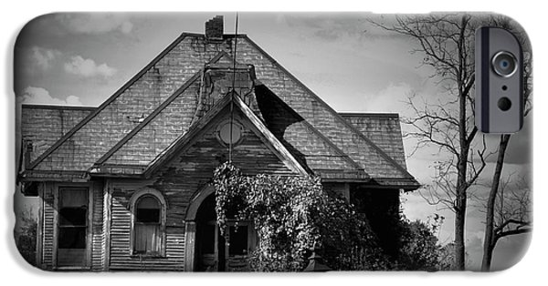 Haunted Schools iPhone Cases - Haunted School House iPhone Case by David Arment