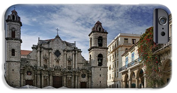 Historic Site iPhone Cases - Havana Cathedral. Cuba iPhone Case by Juan Carlos Ferro Duque