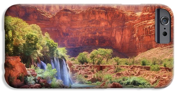 Grand Canyon Mixed Media iPhone Cases - Havasu Canyon - Upper Navajo Falls iPhone Case by Lori Deiter