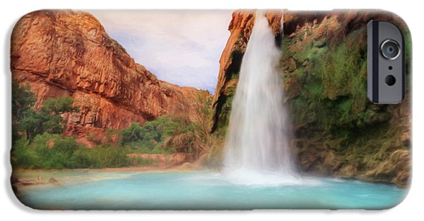 Grand Canyon Mixed Media iPhone Cases - Havasu Falls iPhone Case by Lori Deiter