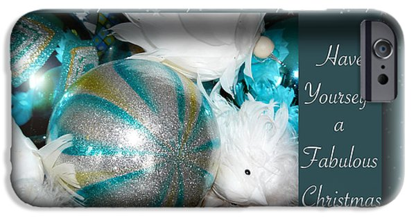 Silver Turquoise iPhone Cases - Have Yourself a Fabulous Christmas iPhone Case by Lisa Knechtel