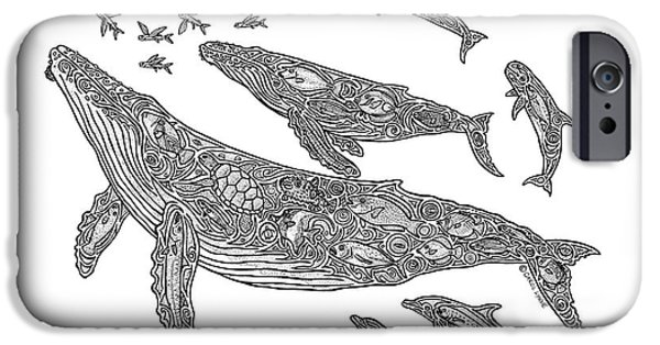 Creative Drawings iPhone Cases - Hawaiian Humpbacks iPhone Case by Carol Lynne