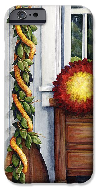 """indoor"" Still Life Paintings iPhone Cases - Hawaiian Still Life Panel iPhone Case by Sandra Blazel - Printscapes"