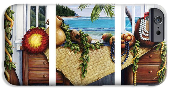 """indoor"" Still Life Paintings iPhone Cases - Hawaiian Still Life with Haleiwa on My Mind iPhone Case by Sandra Blazel - Printscapes"