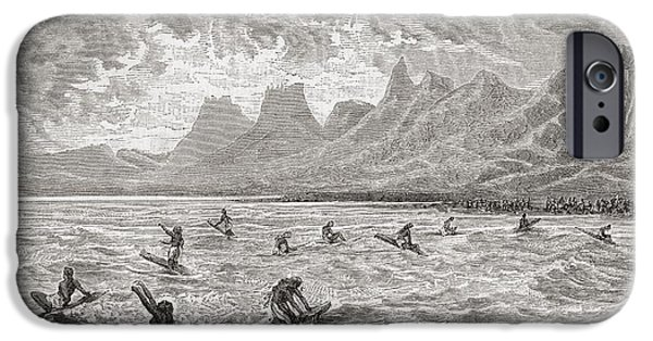 Board Drawings iPhone Cases - Hawaiians Surfing In The 19th Century iPhone Case by Ken Welsh