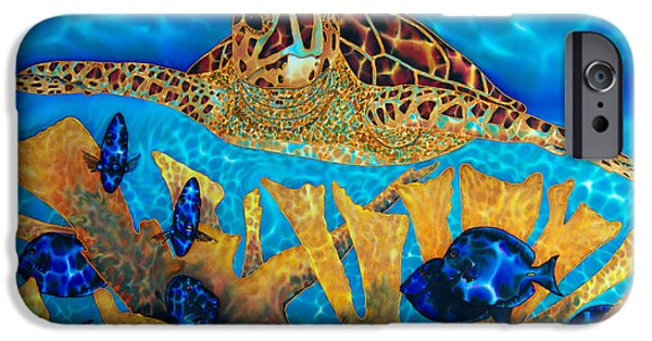 Animal Cards Tapestries - Textiles iPhone Cases - Hawksbill Sea  Turtle iPhone Case by Daniel Jean-Baptiste