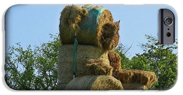 Haybale iPhone Cases - Hay Bale Teddy Bear iPhone Case by John Malone