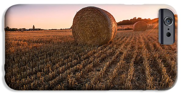 Hay Bales iPhone Cases - Hay bales at Sunset iPhone Case by Ian Hufton