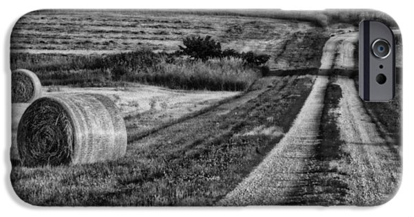 Hayfield iPhone Cases - Hay Bales - Country Road iPhone Case by Nikolyn McDonald