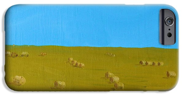 Haybales Paintings iPhone Cases - Hay Harvest iPhone Case by Tom Amiss