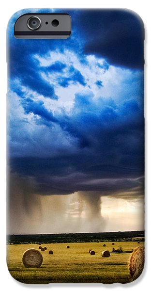 Hay Bales iPhone Cases - Hay in the Storm iPhone Case by Eric Benjamin