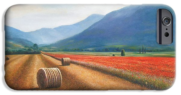 Haybales Paintings iPhone Cases - Haybales in Italy iPhone Case by Ann  Cockerill