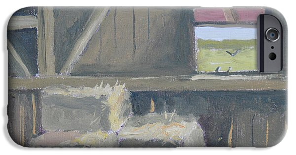 Barn Swallow Paintings iPhone Cases - Hayloft with Barn Swallows iPhone Case by Robert P Hedden