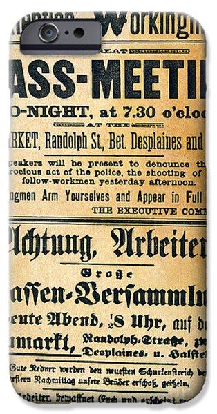 HAYMARKET HANDBILL, 1886 iPhone Case by Granger