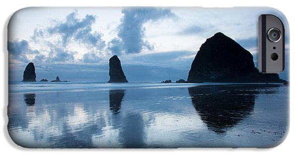 Lighthouse iPhone Cases - Haystack Rock and Refection iPhone Case by Jack Nevitt