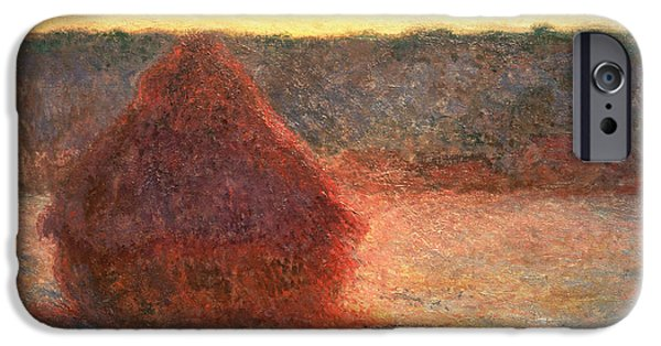 Farm Fields Paintings iPhone Cases - Haystacks at Sunset iPhone Case by Claude Monet