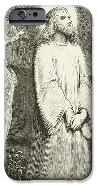 Son Of God Drawings iPhone Cases - He is Risen iPhone Case by English School