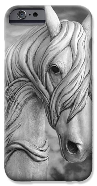 Horse iPhone Cases - Head In The Clouds D5305 iPhone Case by Wes and Dotty Weber