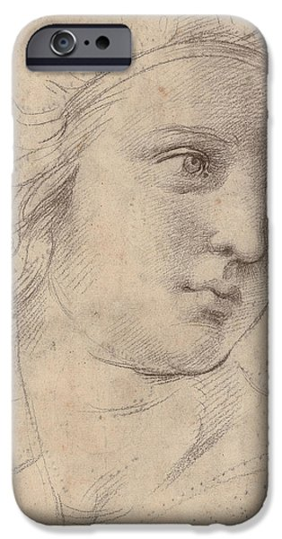Raphael iPhone Cases - Head Of A Muse iPhone Case by Raphael