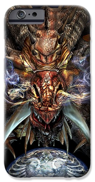 Concentration Digital iPhone Cases - Head Of A Red Dragon iPhone Case by Kurt Miller