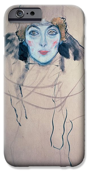 Art Nouveau iPhone Cases - Head of a Woman iPhone Case by Gustav Klimt