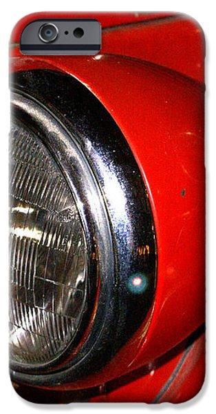 Headlamp on antique fire engine iPhone Case by Douglas Barnett