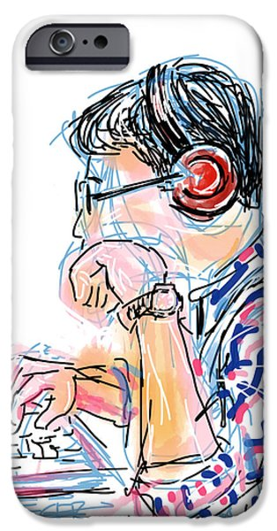Youthful iPhone Cases - Headphones and Laptop iPhone Case by Robert Yaeger