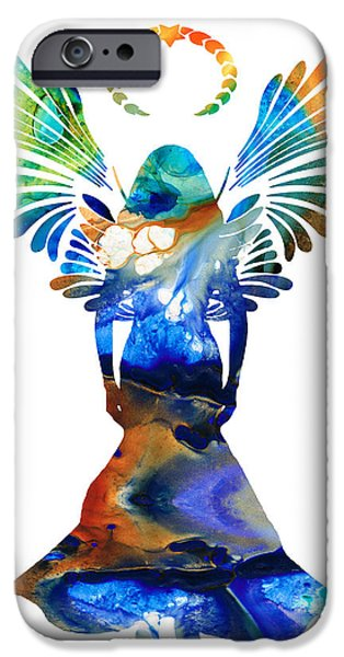 Religious Mixed Media iPhone Cases - Healing Angel - Spiritual Art Painting iPhone Case by Sharon Cummings