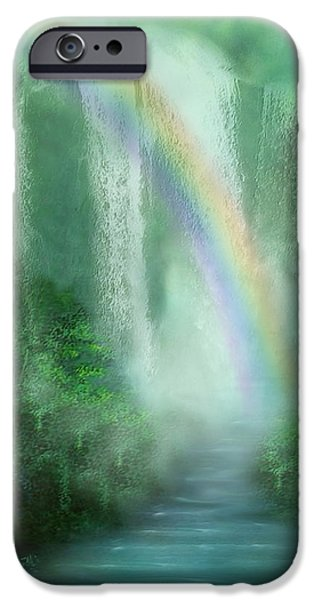 Chakra Rainbow iPhone Cases - Healing Grotto iPhone Case by Carol Cavalaris