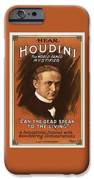 Hear iPhone Cases - Hear Houdini - The World Famed Mystifier iPhone Case by Digital Reproductions