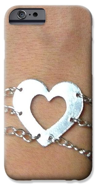 Sterling Silver Bracelet Jewelry iPhone Cases - Heart Bracelet iPhone Case by Sarah B