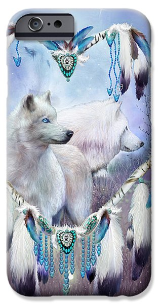 Dreamcatcher iPhone Cases - Heart Of A Wolf 2 iPhone Case by Carol Cavalaris