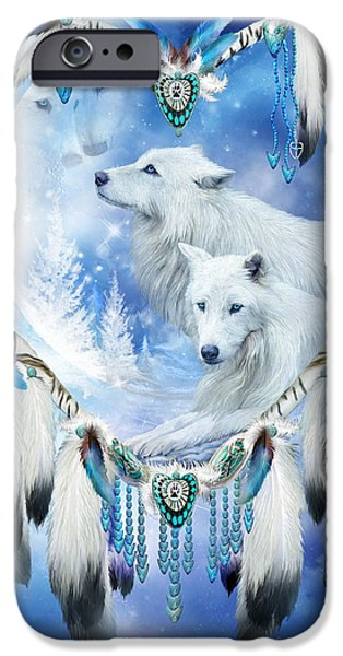 Dreamcatcher iPhone Cases - Heart Of A Wolf 4 iPhone Case by Carol Cavalaris