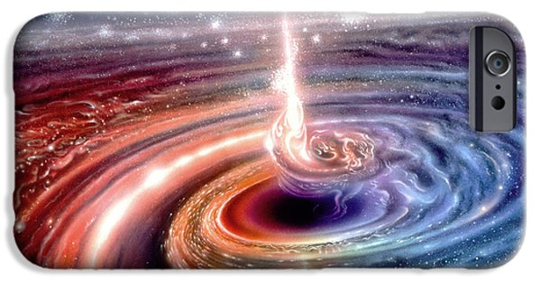 Black Hole Paintings iPhone Cases - Heart of the Quasar iPhone Case by Don Dixon