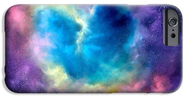 Galaxy Paintings iPhone Cases - Heart of the Universe iPhone Case by Sally Seago